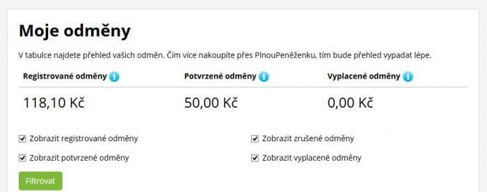 Moje první odměny - 50Kč za registraci + 118Kč za rezervaci na Booking.com (čeká na schválení)
