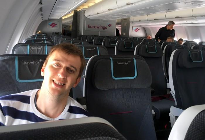 Eurowings - poloprázdné letadlo při cestě zpět / Foto: dovolenkářka