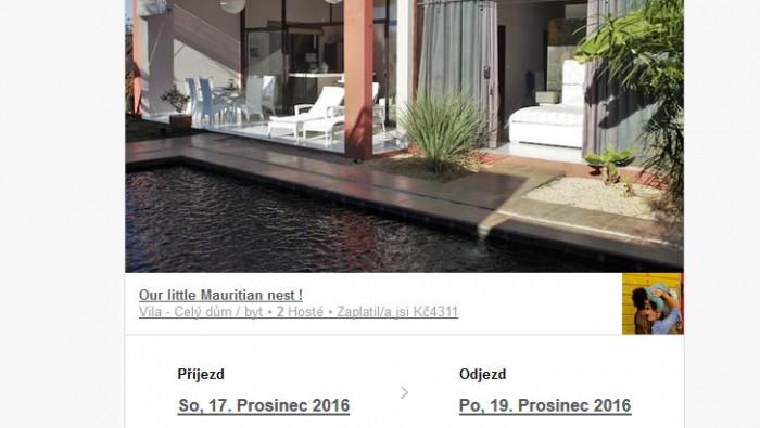 Rezervace Vily na Airbnb / naše rezervace na 2 noci